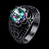 Sumanee Engagement Rainbow Wedding Ring Round Cut Colorful Zircon Black Gold Plated (8)