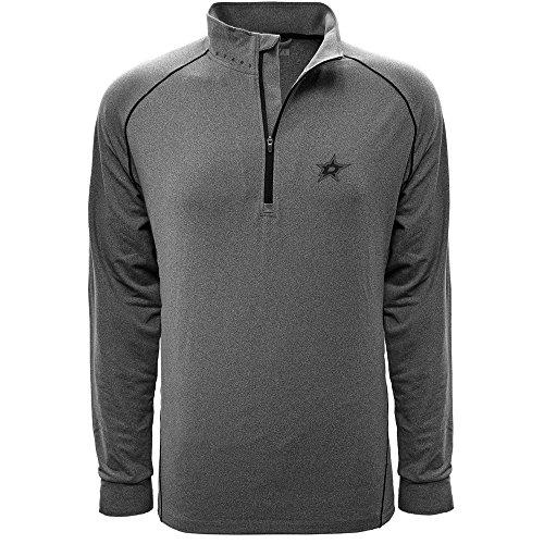 Levelwear LEY9R NHL Dallas Stars Men's Summit Wordmark Quarter Zip Mid-Layer Jacket, XX-Large, Heather Charcoal/Black -