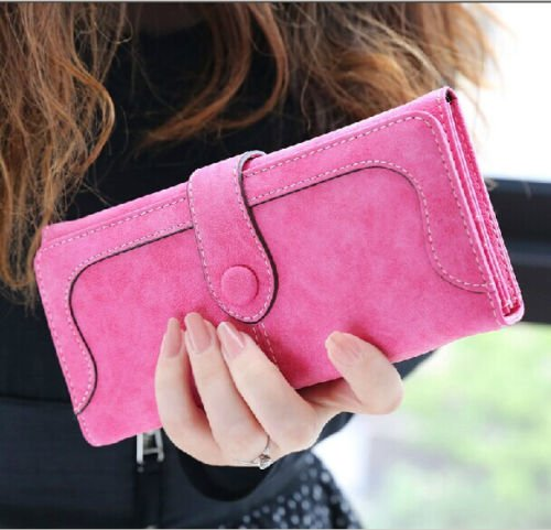 NEW Women Fashion Retro Matte Stitching Lady Women Wallet Long Card Holder Purse ,Rose - Bags Bvlgari Price