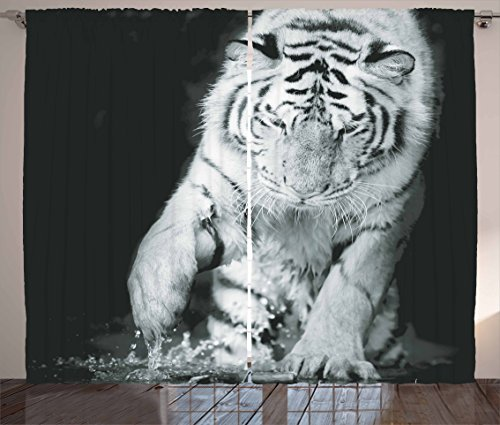Ambesonne Tiger Curtains, Black and White Image of Large Cat Playing with Water Cool Animals Fun Hunter, Living Room Bedroom Window Drapes 2 Panel Set, 108 W X 63 L Inches, Black Light Grey For Sale