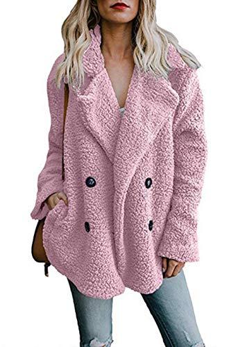 - Asskdan Women's Open Front Fuzzy Cardigan Warm Fleece Jacket Coat Long Sleeve Oversized Coat Outwear with Pockets (Pink, L)