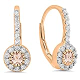 14K Rose Gold Round Morganite & White Diamond Ladies Cluster Halo Style Dangling Drop Earrings