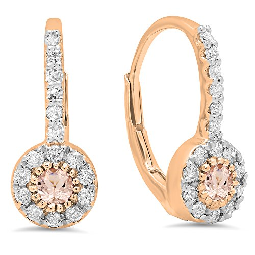 14K Rose Gold Round Morganite & White Diamond Ladies Cluster Halo Style Dangling Drop Earrings by DazzlingRock Collection