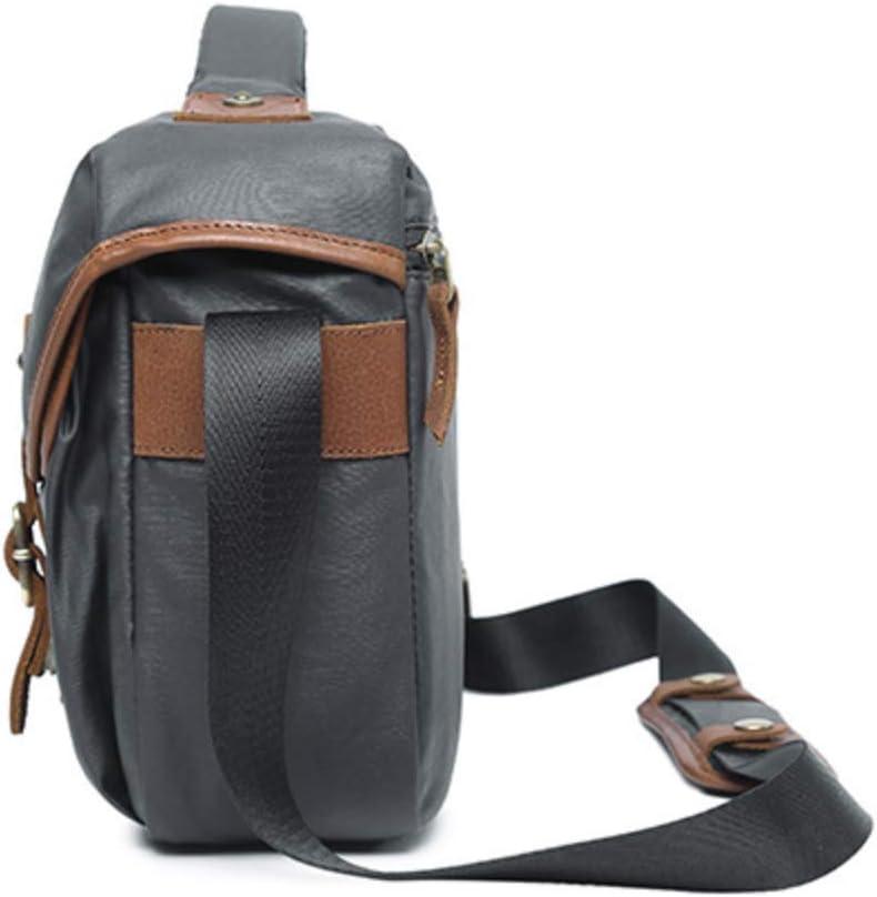 Khaki Binglinghua Vintage Leather Camera Bag DSLR Messenger Shoulder Bag Canvas Waterproof Sling Backpack-BLHTYC6985
