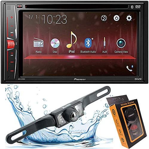 Pioneer AVH-210EX 6.2 2-Din Bluetooth Touchscreen Multimedia DVD Receiver with HD Backup Camera and Gravity Mobile Phone Holder
