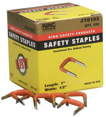 King Safety Products 70102 1/2'' Orange Insulating Safety Staples 100 Count by King Safety (Image #1)