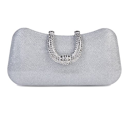 Damara Womens Rhinestone Clasp Sequin Mesh Hard Box Evening Clutch Bag,Silver (Mesh Sequin Clutch)