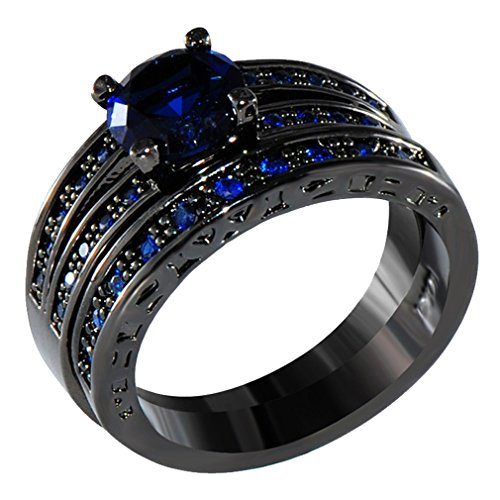 AYT Black Gold Plated Natural Sapphire Blue Crystal Engagement Wedding Set Ring For Lovers Fashion Double Ring Promotion