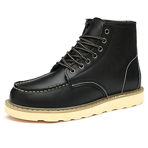 rismart Mens Street-Style Fashion Platform Synthetic Leather Ankle Boots Fur Lined Available Black SN0027 US8.5 BoUiCAspbe