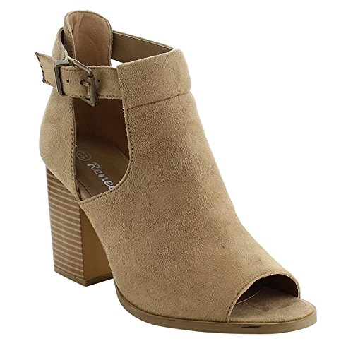 Reneeze Women's AF79 Cut Out Chunky Heel Buckle Heels Sandals Taupe 9