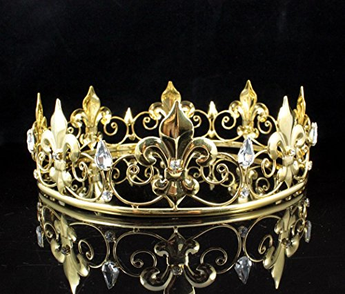 Janefashions TEEN'S BOY'S KING KING'S GOLD METAL CROWN AUSTRIAN RHINESTONE CRYSTAL FLEUR-DE-LIS MEDIEVAL THEATER PARTY SHOW COSTUME C807G