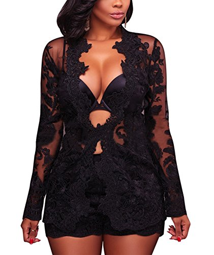 IyMoo Womens Lace Jumpsuits Bodycon Sets 2 Piece Long Sleeve V Neck Outfits Clubwear Black Small