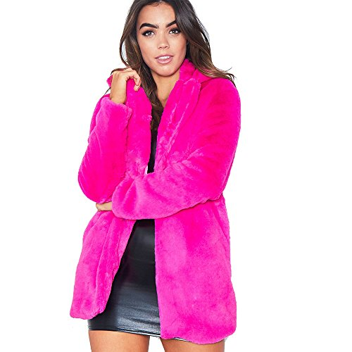 Rvxigzvi Womens Faux Fur Coat Plus Size Parka Jacket Long Trench Winter Warm Thick Outerwear Overcoat XS-4XL (Rose Red-, US S/4-6)
