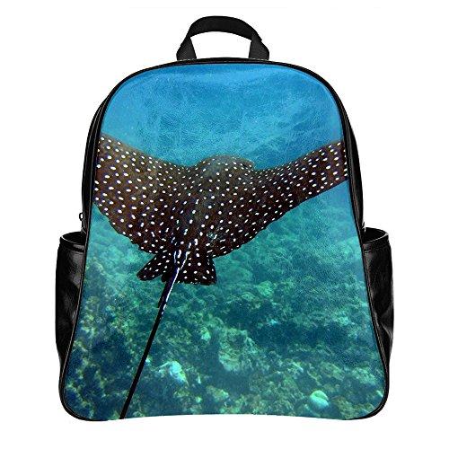 NIWAHO Custom STINGRAY UNDERWATER SWIM PU Leather Student School Bag Multi-pocket Backpack - Stingray Printed Leather