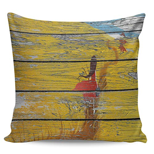 Square Decorative Throw Cushion Cover Pillowcase with Hidden Zipper for Sofa Car Couch Living Room Wood Grain Red Skirt Girl - Wing Slipcover Plaid
