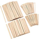 Hestya 600 Pieces Wax Applicator Sticks Wood Waxing Craft Sticks Spatulas Applicators for Hair Removal Eyebrow Body, 4 Sizes