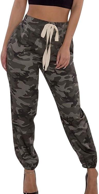 Ansenesna Hose Camouflage Damen High Waist Elegant Tarnhose Frauen Locker Schick Cargo Freizeithosen