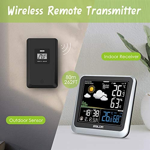 Humidity /& Barometer BALDR Color Digital Wireless Indoor//Outdoor Weather Station with Thermometer /& Hygrometer Power Adapter Included Displays Temperature Constant Back-Light with Dimmer