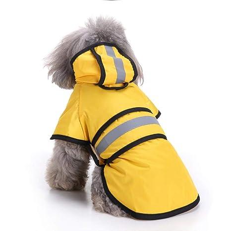 Ruiuzi Moda Reflectante Rayas Amarillo Impermeable para Mascotas días lluviosos Slicker Impermeable Ropa Cachorro Lluvia Poncho