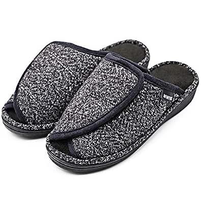 MEJORMEN Women's Diabetic Slippers Adjustable Open Toe Plush Terry Warm Comfortable Slip On Slide House Shoes for Wide Arthritic Swollen Feet, Elderly Edema Bunion (5-6 M US, Lightweight - Black)