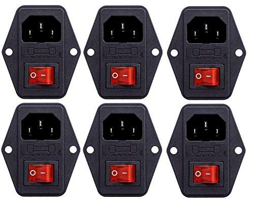 YXQ 3Pin IEC320 C14 Inlet Module Plug 5A Fuse Red Switch Male Power Socket, AC 250V 10A, (Ac Power Switch)