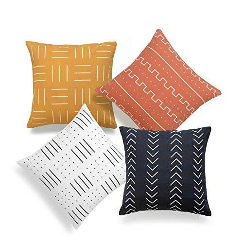 Hofdeco African Mudcloth Pillow Cover ONLY, Rust Orange Mustard Yellow Black White, Dots Stripes Dashes Arrowhead, 18