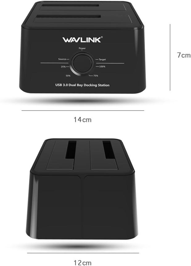 Schwarz Doppeltasche Wavlink USB 3.0 Dual Bay SATA Externe Festplatte Dockingstation f/ür 2,5 Zoll und 3,5 Zoll HDD//SSD Unterst/ützung Offline Clone//Backup Funktionen
