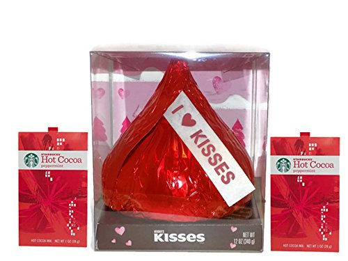 Kisses Cocoa Hot - Giant Hershey Kiss 12 oz Valentine for Him and Her Bundle w/ Starbucks Hot Cocoa Peppermint