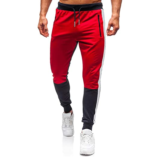 Pantalones deportivos para hombre, largos cargos, con cordón ...