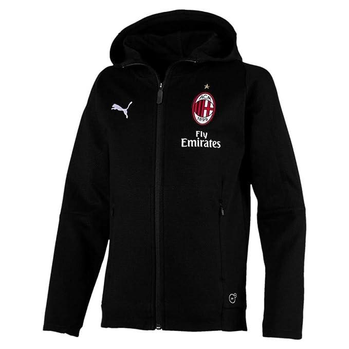 d4a36e4935730 Ac Milan Puma Tuta Tempo Libero Cappuccio Nero Cotone 2018 19 con tasche  Calcio