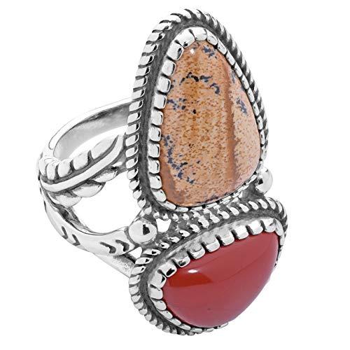 American West Sterling Silver, Picture Jasper, Red Jasper Leaf Ring - 8 - Earth Spirit ()