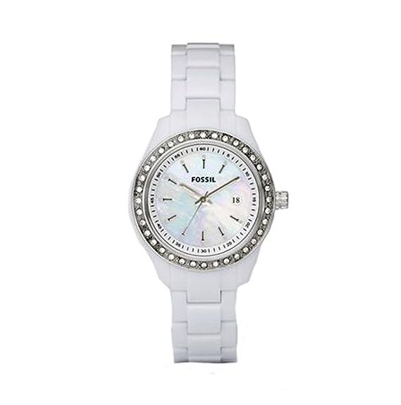 Fossil ES2437 - Reloj analógico de cuarzo para mujer con correa de plástico, color blanco: Fossil: Amazon.es: Relojes
