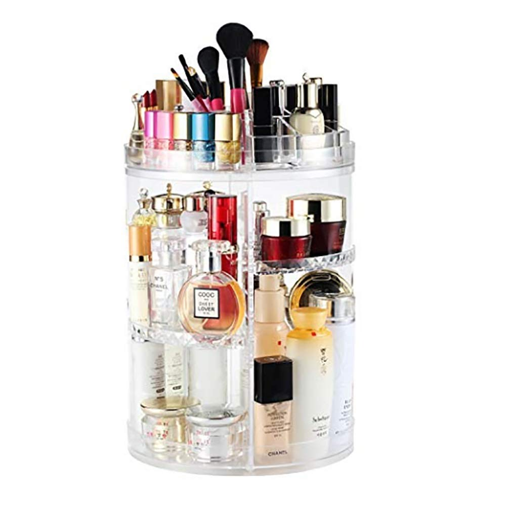 Happa Boxalls Rotating Makeup Organizer, 360 Degree Crystal Adjustable Jewelry Cosmetic Perfumes Display Stand Box, 360 X 250 MM