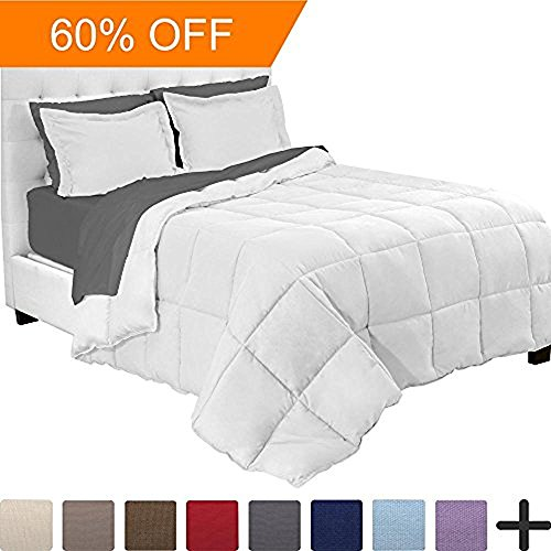 5-Piece Bed-In-A-Bag - Queen (Comforter: White, Sheet Set: Grey) - 5 Piece Queen Bed