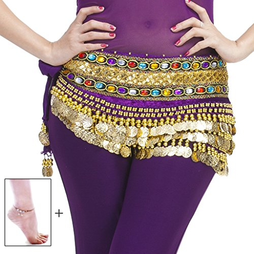 [Mutreso Belly Dance Hip Scarf with 248 Gold Coins 150cm Colorful Gem Belt Profession Velvet Performance Skirt Hip Wrap] (Simple Cheer Dance Costumes)