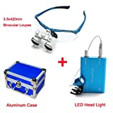 Zinnor (FBA) Dental Surgical Medical Binocular Loupes Optical Glass Loupe 3.5x420mm + LED Head Light Lamp + Aluminum Case (Blue)