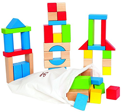 Maple Wood Kids Building Blocks by Hape | Stacking Wooden Block Educational Toy Set for Toddlers, 50 Brightly Colored Pieces in Assorted Shapes and Sizes