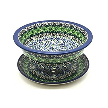 Polish Pottery Berry Bowl with Saucer - Kiwi