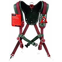 Task Tools T77580 Signature Series Leather Suspender/Harness, Green and Burgundy