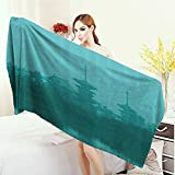 Anhounine Bathroom Towels Asian Various Temples above the Sea Holy Tank in Fog Symbolic Faith Custom Pagoda Monochrome Bath Pool Shower Towel for Kids 55''x27.5'' Turquoise