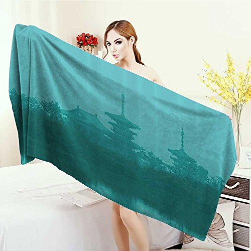 Anhounine Bathroom Towels Asian Various Temples above the Sea Holy Tank in Fog Symbolic Faith Custom Pagoda Monochrome Bath Pool Shower Towel for Kids 55''x27.5'' Turquoise by Anhounine