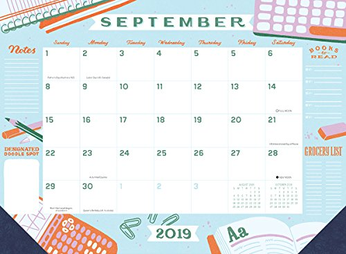High Note 2019 Jill De Haan Deluxe 18-Month Desk Pad Planner Calendar- July 2018 to December 2019, 18.75