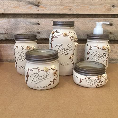 Amazon Com Rustic Ivory And Bronze Mason Jar Bathroom Set