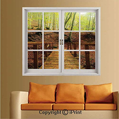 Nursery River Birch - Removable Wall Sticker/Wall Mural,Creative Window View Wall Decor,W24 xL32,Weathered Wooden Bridge Over River Leads to a Footpath Between Birch Trees in Autumn Decorative