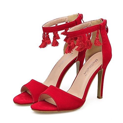 Borla Rojo Profunda Pescado Mujeres Estilete Highxe Para Red De Red Moda Boda eu38uk555 Sandalias Aguja Poco Zapatos Tacones Alto Tacón Boca Bqww6YAv