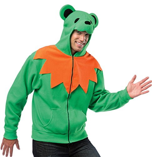Dancing Bear Head Costume (Grateful Dead Dancing Bear Hoodie Color: Green Size: Medium)