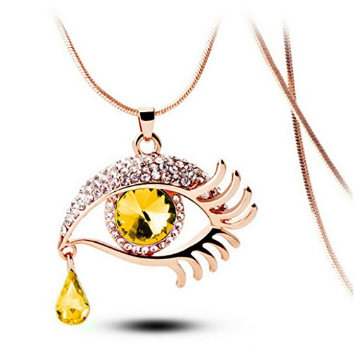 Balakie Magic Eye Necklace Crystal Tear Drop Eyelashes Long Sweater Chain Sparkle Jewelry (Yellow, Free Size) (Oval Fringe Earrings)