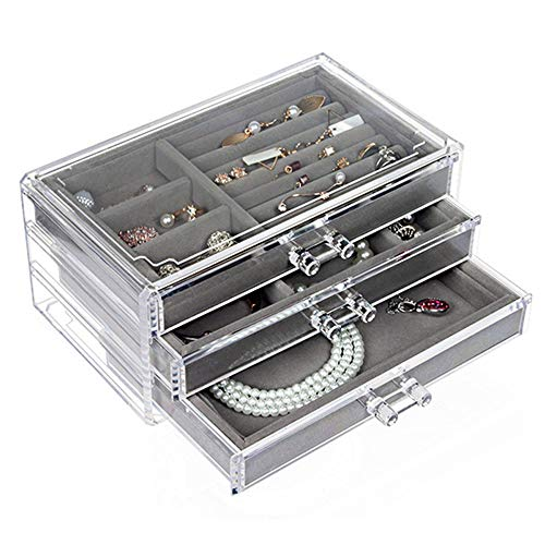 SWAWIS 3 Drawers Clear Jewelry Box, Acrylic Jewelry Organizer,Necklaces Earrings Ring Watch Jewelry Storage Box Gift for Women,Teen Girls
