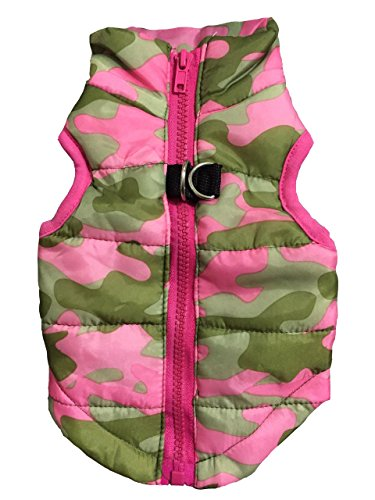 12' Dog Leash Camo - Vedem Pet Puffer Zipper Quilted Vest Coat for Dog Cat (L, Camouflage-Pink)