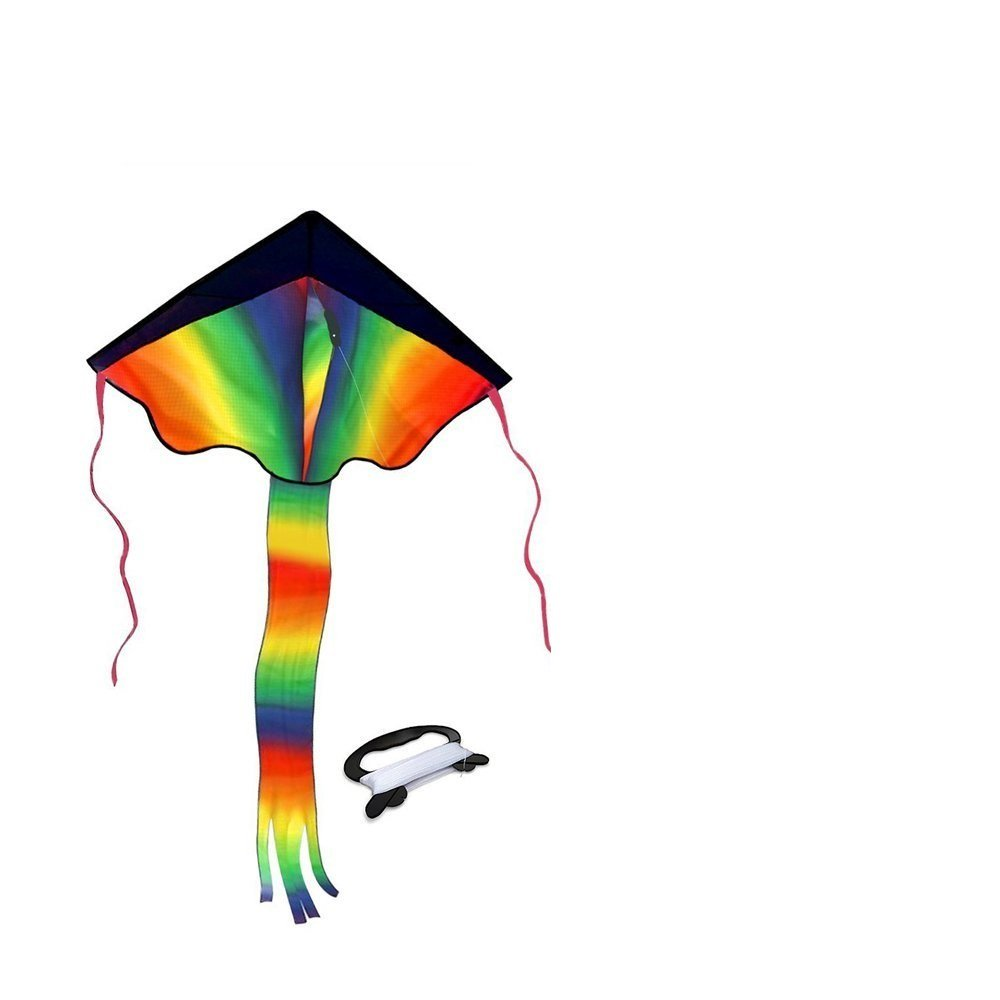 Rainbow Delta Kite for Kids Kite for Adults Easy Flying with Tail Flyer line and Handle Perfect for Outdoor Fun Beach Toys and Park Sports Comes with Carrying Bag Whales Tech